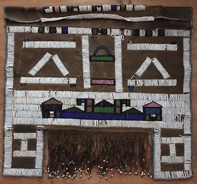 """Great 1880's Glass Bead Goat Skin Apron South African Ndebele Zulu Tribe 24""""x24"""