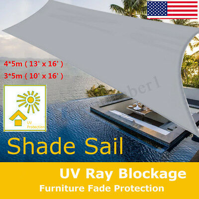Sun Shade Sail Outdoor Top Waterproof Grey Canopy Patio UV Block 16' Square USA