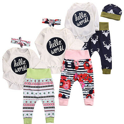 Newborn Baby Girl Boys Romper Floral Pants Leggings 3pcs Outfits Clothes Spring
