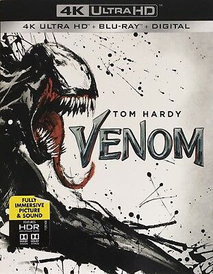 VENOM ~ 4K ULTRA HD + Blu-Ray + Digital *New *Factory Sealed