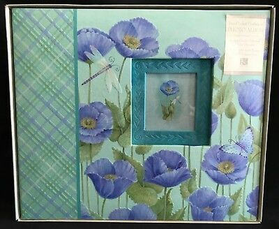 NIB K & Company BLUE POPPIES Two-Pocket Postbound Photo Album
