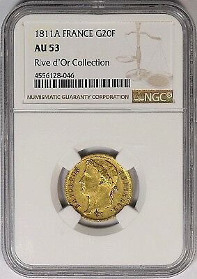 1811-A France Napoleon 20 Francs Gold Coin NGC AU53 **Rive d'Or Collection**