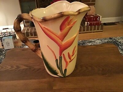"""Pacific Rim Hand painted 8"""" Pitcher Exclusive Bird of Paradise Plant"""
