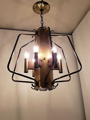 Mid Century Modern Chandelier Light Fixture Brass Teak Space Age Atomic Edison