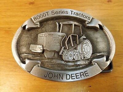 John Deere Belt Buckle - Model 8000T Tractor - Never Used - Pewter