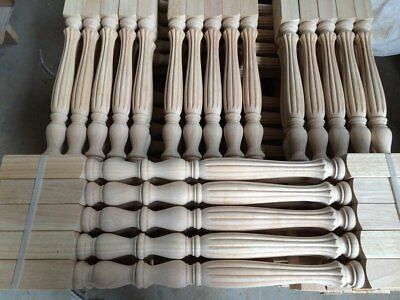 Stair Baluster Elegant Carved Unpainted Wood Spindles Banister Staircase Railing