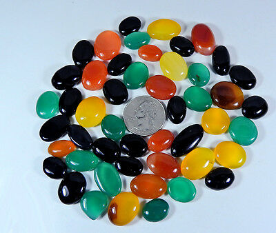 C24407O 502Cts. Natural Multi Onyx Cabochon Gemstone Lot 49Pcs. Oval