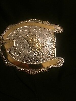 CRUMRINE BULL RIDER 2 Open Banners USA Made Trophy Belt Buckle