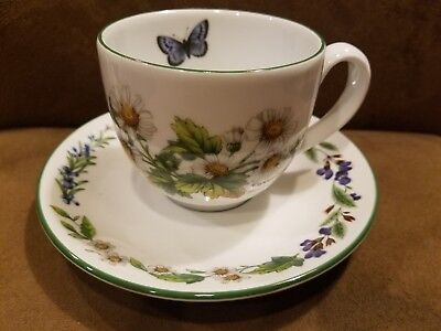 """Royal Worcester England Herbs Porcelain Coffee Cup 2 3/4""""h &  Saucer 5 3/4""""d"""