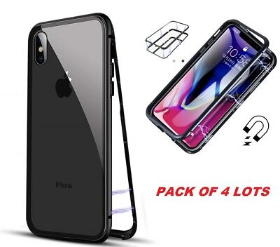 LOT 4 iPhone XR XS MAX 360° Magnetic Adsorption Tempered Glass Phone Case Cover