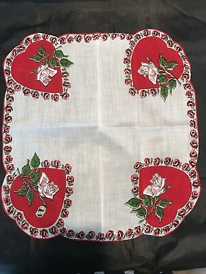 VINTAGE 1950's LOVELY HEARTS & ROSES HANDKERCHIEF w LABEL