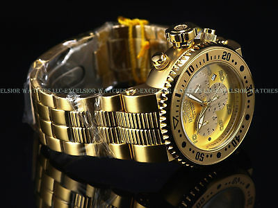Invicta Men 52mm Grand Pro Diver Combat Seal Chrono Gold Tn SS Diver Watch 500m