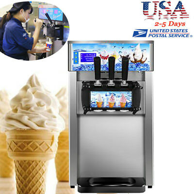 【USA】Commercial Soft Ice Cream Machine 3 Flavor Frozen Yogurt Cone Maker #Steel