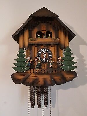 Musical Vintage Cuckoo Clock with animated Oompah Band