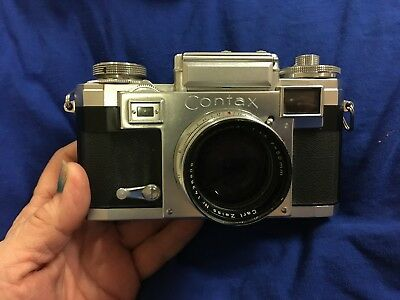 Vintage Contax llla Zeiss Ikon 35 mm range finder camera with leather case