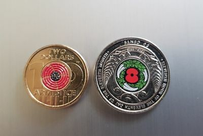 2018 ARMISTICE RED POPPY $2 COIN and  NZ ARMISTICE 50CENTS  UNC.Very Rare.Hurry.