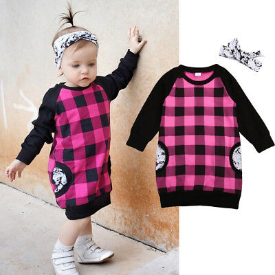 2PCS Toddler Baby Girls Kids Princess Party Pageant Pocket Checked Casual Dress