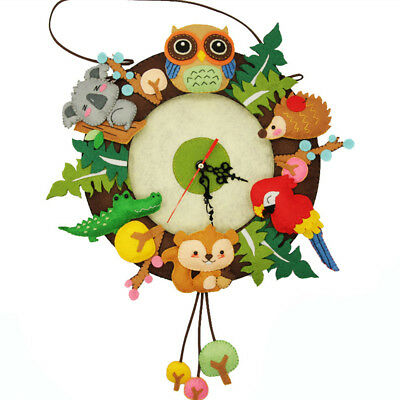 Creative Forest Animal Theme DIY Material Package Funny Cloth Clock Decorations