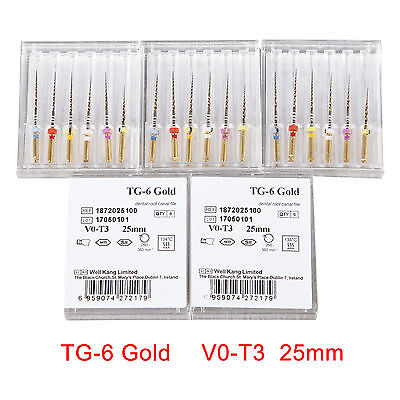 5 X Dental Endodontic NiTi TG Files 25mm Root Canal File TG-6 Gold V0-T3