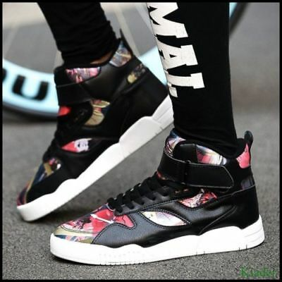 Men's Chic Sports Sneakers Lace up High Tops Running Athletic Shoes Flower US9