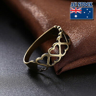 Classic Antique Bronze Tone Alloy Hollow Love Heart Complementary Ring