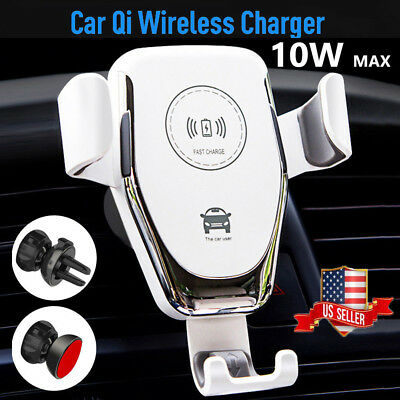 10W QI Wireless Fast Charger Car Mount Holder Stand For iPhoneX XS Samsung S9 US