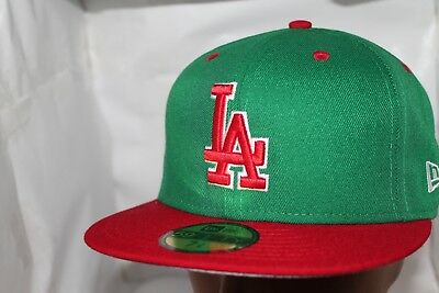 Los Angeles Dodgers New Era MLB Green Red 59fifty,Cap,Hat           $ 37.99  NEW