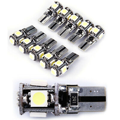 10x T10 5050 W5W 5 SMD LED CANBUS 12v White Car Side Wedge Tail Light Lamp Bulb