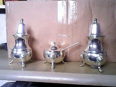 Silver Plated Cruet Set With Blue Liner And Spoon