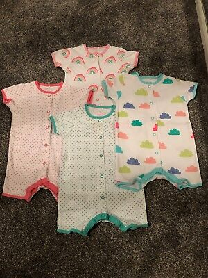 Next Baby Girl X4 Rompers Spotty/Rainbow/Cloud 6-9 Months