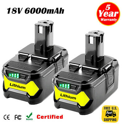 2XFor Ryobi P108 18V 6.0Ah Lithium Ion Battery Pack Replaces P122 P105 P103 P102