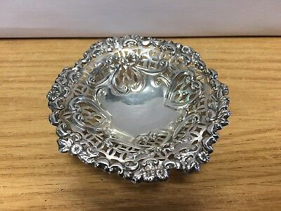 Antique 19th century 925 sterling silver trinket pin dish L & S Birmingham 1897