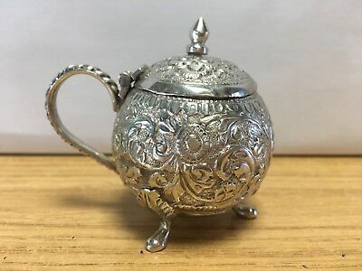 Indian Solid Silver Gourd Shaped Mustard pot - 56g