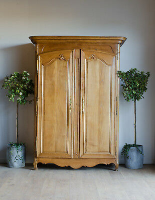 French Antique 19th Century Golden Oak Knockdown Armoire Linen Press Cupboard