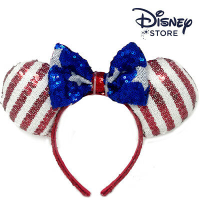 NEW Authentic Minnie mouse ear Headband American Flag Disneyland Disney Store