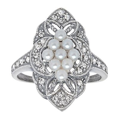 Van Kempen Victorian Shell Pearl Ring with Swarovski Crystals in Sterling Silver