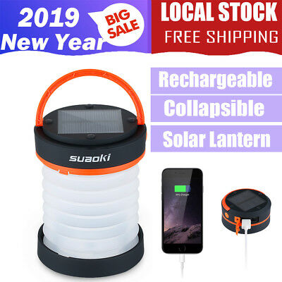 Portable Solar Light Lamp Camping LED Lantern Tent Rechargeable Outdoor Torch AU