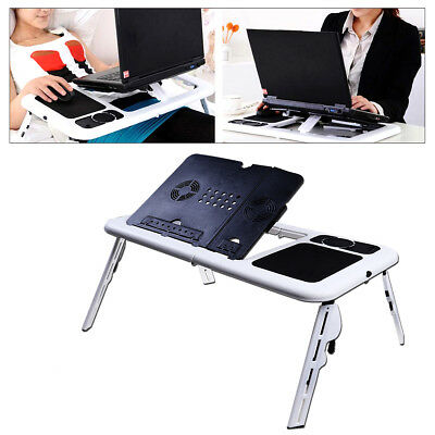 Adjustable Foldable Laptop Notebook PC Table Desk Portable Tray +Two Cooling Fan