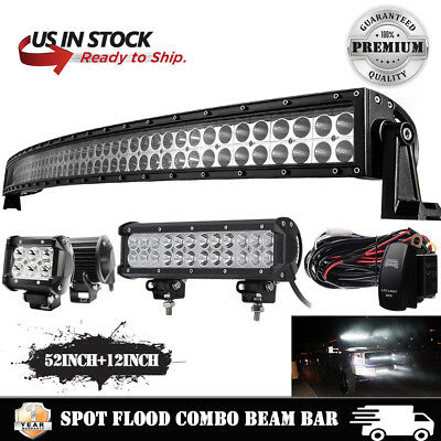 """Curved CREE 52Inch LED Light Bar+12 inch+4"""" PODS OFFROAD SUV 4WD UTE VS 50 32 42"""
