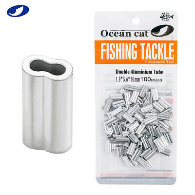 OCEAN CAT 50-500 Pcs Flat Aluminium Tube Barrel Crimp Fishing Split Rings Snaps