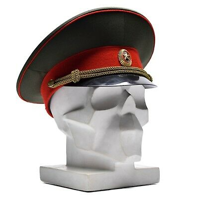 ca2a7719ac2 Soviet Russian military vintage Hat Soviet army officer peaked cap red w  badge