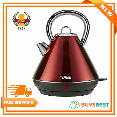 Tower Infinity 1.8 Ltr Rapid Boil Traditional Kettle, Stainless Steel 3KW In Red
