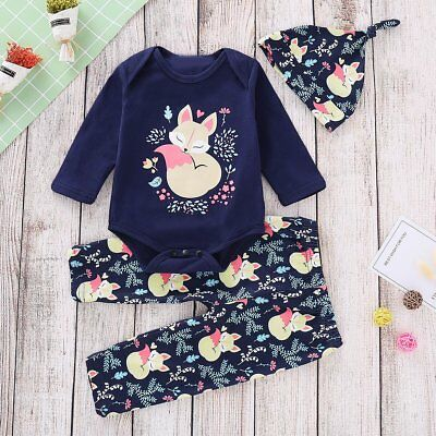 Toddler Baby Girls Romper Tops+Cartoon Animal Pants Hat 3PCS Outfits Clothes Set