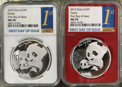1 Pair NGC MS70 2019 China 30g Silver Panda Coins First Day of Issue
