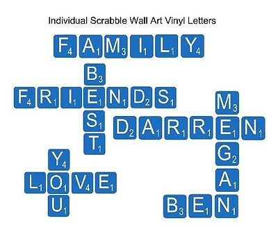 Scrabble Letters Individual Wall Art Vinyl Letters Sticker Decals (#649)