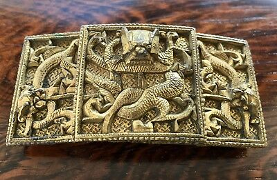 Rare Antique Qing Dynasty Chinese Dragon Gilt Bronze Buckle 18th to 19th Century