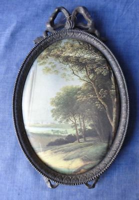 Vintage Large Oval Ornate Brass Photo Picture Frame *Silk Print *Made in Italy