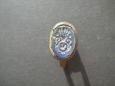 Medieval ancient bronze ring pseudogeraldic seal 16-17 century