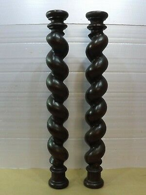 """24.4"""" French antique two beautiful old carved oak twists"""