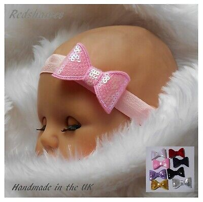 Sequin Bow Baby Headband- 5cm Bow- Christmas, christening, wedding combined post